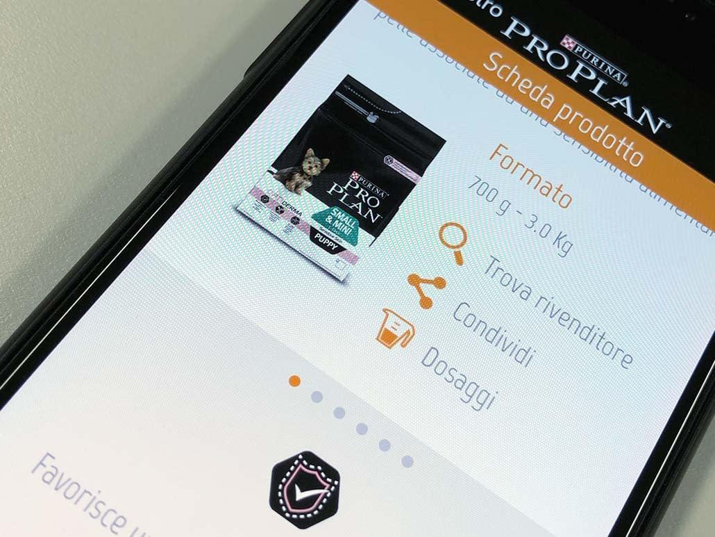 App mobile PURINA scheda prodotto